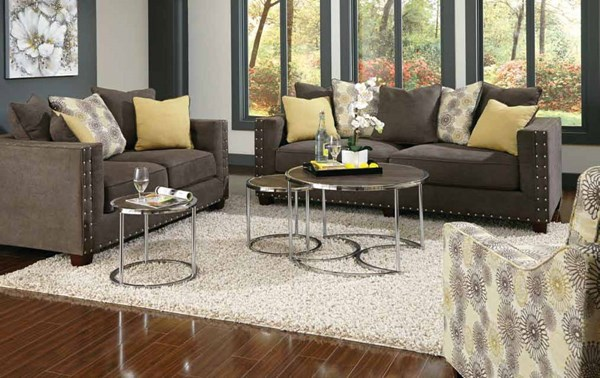 Kelvington Contemporary Charcole Fabric Living Room Set CST-50142-LR