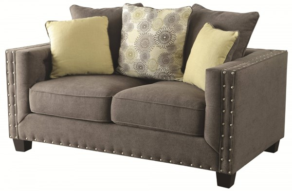Kelvington Contemporary Charcole Fabric Love Seat W/Tufted Back CST-501422