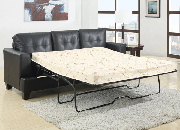 Samuel Black Leather Tufted Back Sleeper CST-501680