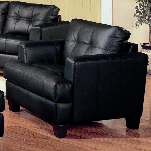 Samuel Black Wood Bonded Leather Tufted Chair CST-501683