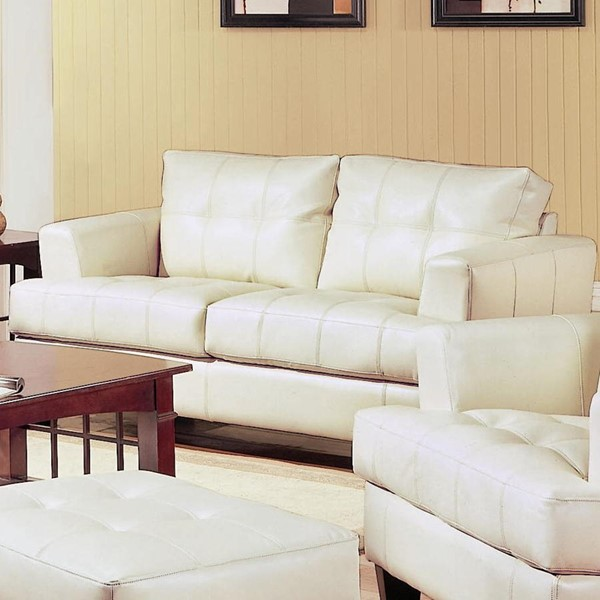 Samuel Cream Wood Bonded Leather Tufted Loveseat CST-501692