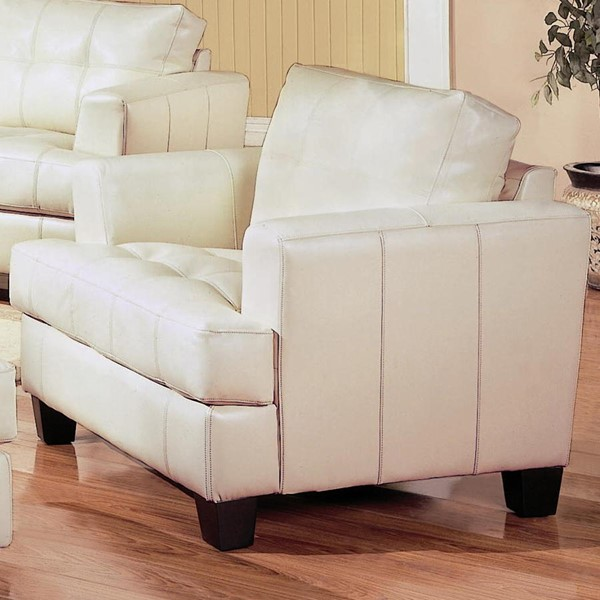 Samuel Cream Wood Bonded Leather Tufted Chair CST-501693