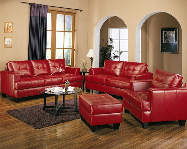 Samuel Red Bonded Leather 4pc Living Room Set CST-50183-SET