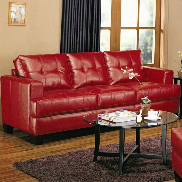 Samuel Red Wood Bonded Leather Tufted Sofa  CST-501831