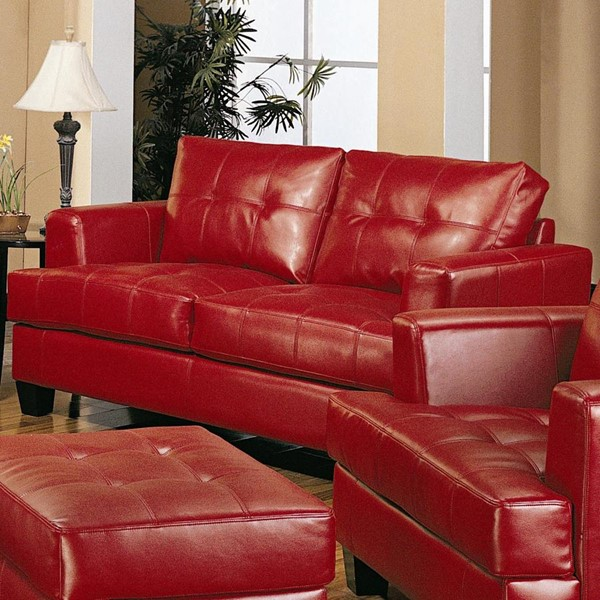 Samuel Red Wood Bonded Leather Tufted Loveseat CST-501832