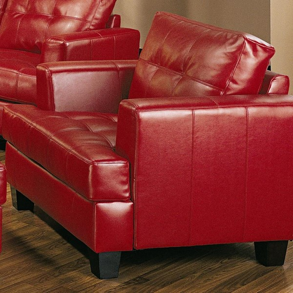 Samuel Red Wood Bonded Leather Tufted Chair CST-501833