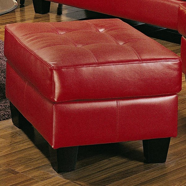 Samuel Red Wood Bonded Leather Tufted Ottoman CST-501834