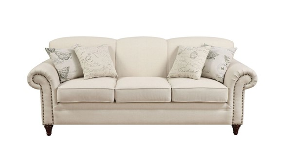 Norah Classic Oatmeal Wood Fabric Rolled Arms Sofa CST-502511