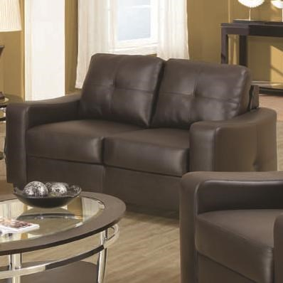 Jasmine Brown Wood Bonded Leather Love Seat W/Tufted Back CST-502732