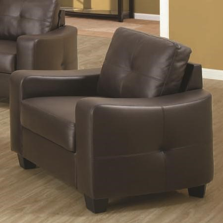 Jasmine Brown Wood Bonded Leather Chair W/Pillow Back CST-502733