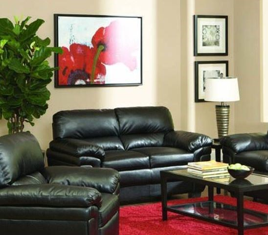 Fenmore Casual Black Faux Leather Loveseat CST-502952