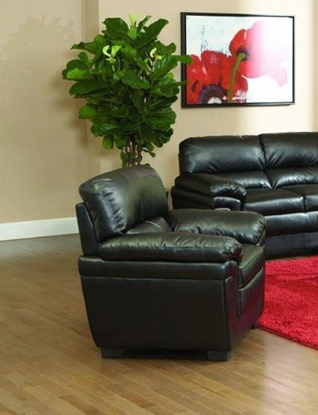 Fenmore Casual Black Faux Leather Cushion Back Chair CST-502953