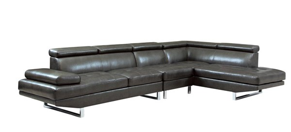 Piper Contemporary Charcoal Bonded Leather Sectional w/Armless Chair CST-503029-SEC