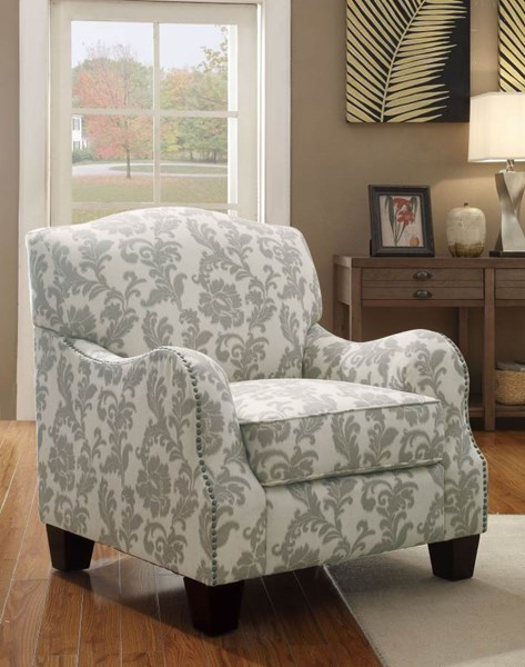 Karlee White Grey Upholstery Fabric Accent Chair CST-503253
