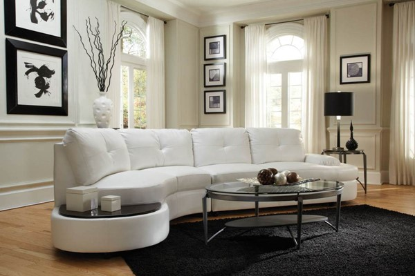 Talia Contemporary White Bonded Leather Stationary Sectional CST-503431