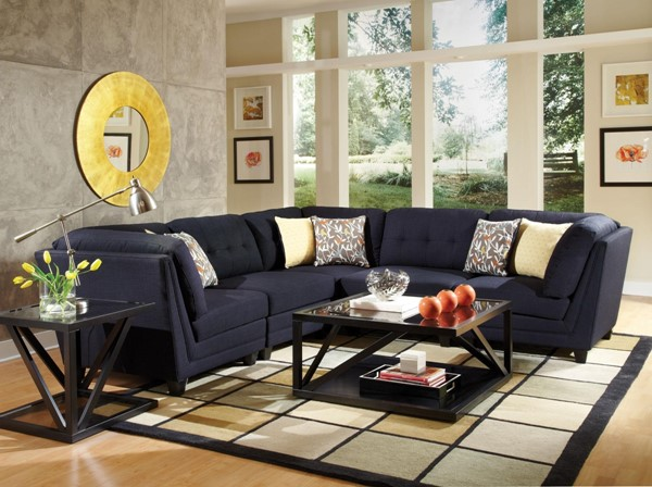 Keaton Transitional Blue Fabric Wood Sectional CST-503451-SEC