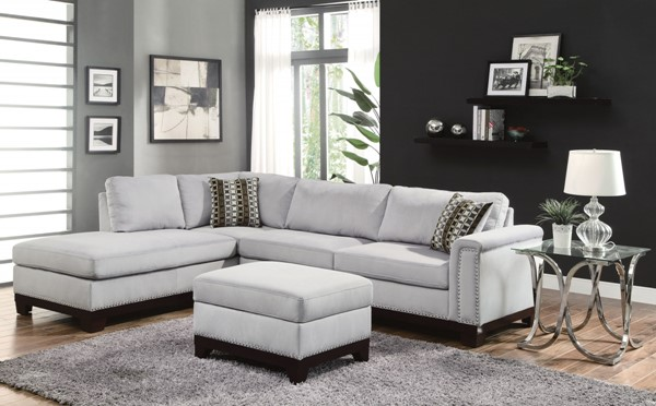 Mason Contemporary Grey Wood And Velvet Sectional W/Ottoman CST-503615LS3