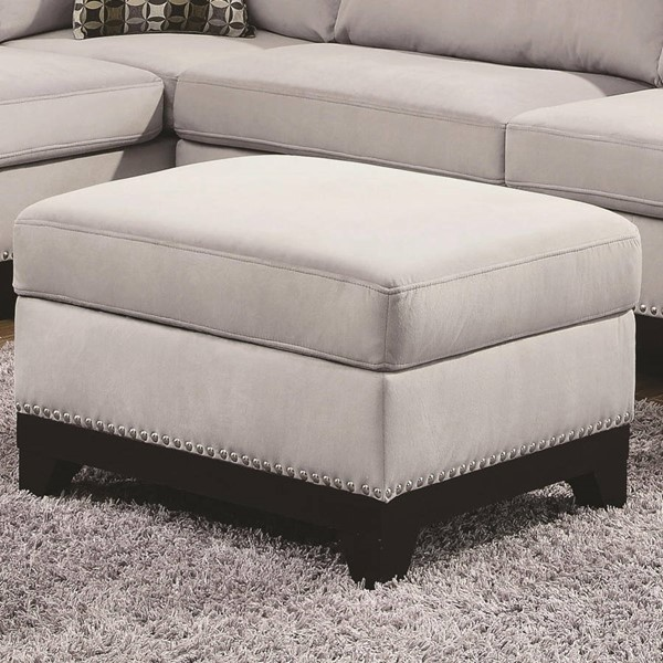 Mason Contemporary Grey Wood And Velvet Storage Ottoman CST-503616
