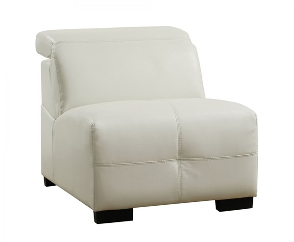 Darby Contemporary White Wood Leather Armless Chair CST-503617AC