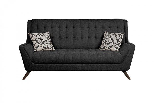 Natalia Contemporary Black Fabric Sofa w/Padded Arms & Tufted Seat CST-503774