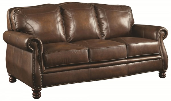Montbrook Traditional Brown Leather Wood Sofa w/Nailheads CST-503981