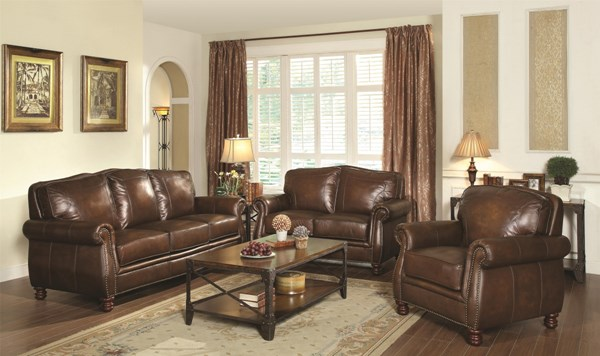 Montbrook Traditional Brown Leather Wood Living Room Set CST-503981-LR