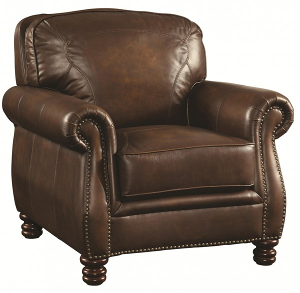 Montbrook Traditional Brown Leather Wood Chair w/Nailheads CST-503983
