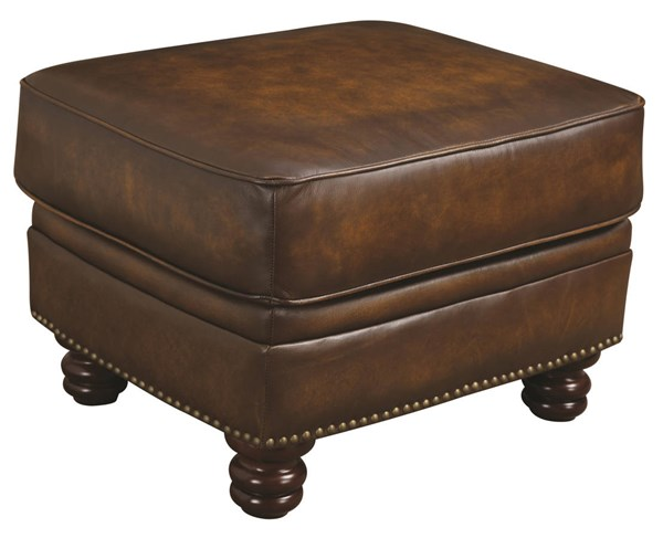 Montbrook Traditional Brown Wood Leather Ottoman CST-503984
