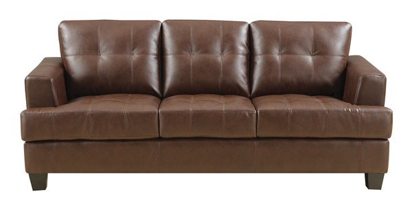 Samuel Dark Brown Wood Bonded Leather Tufted Sofa CST-504071
