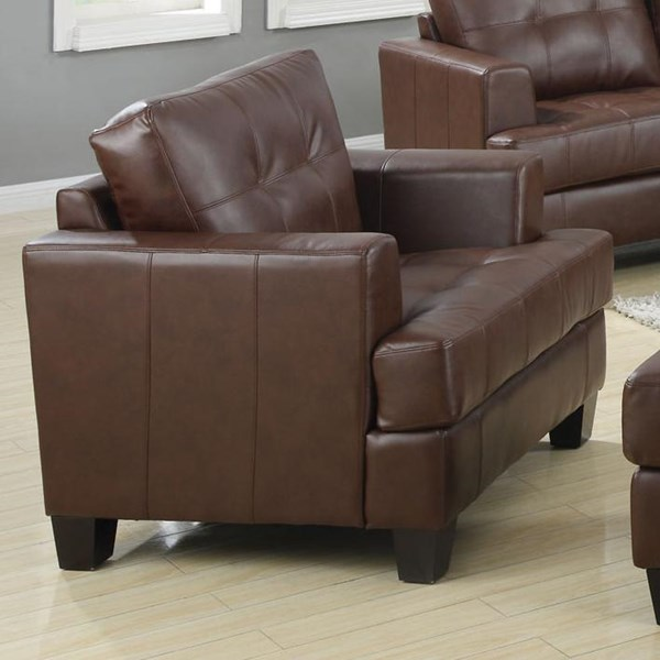 Samuel Dark Brown Wood Bonded Leather Tufted Chair CST-504073