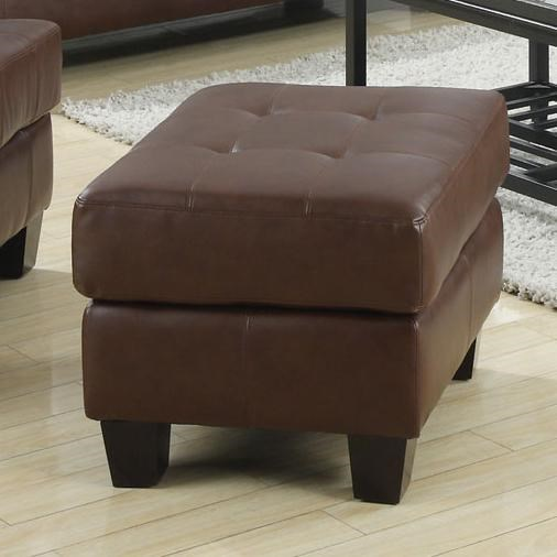 Samuel Dark Brown Wood Bonded Leather Tufted Ottoman CST-504074