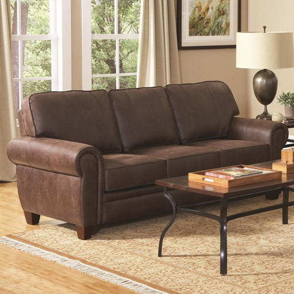 Bentley Traditional Brown Micro Fiber Fabric Sofa CST-504201