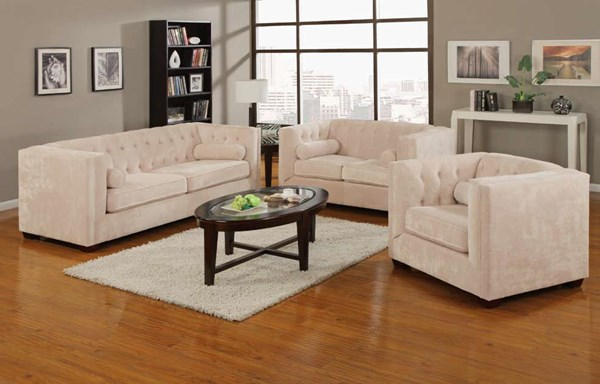 Alexis Almond Wood Fabric Living Room Set CST-504391-Set