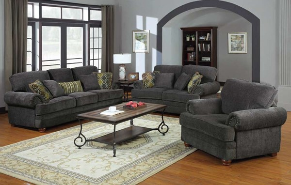 Colton Smoky Grey Fabric Living Room Set CST-504401-Set