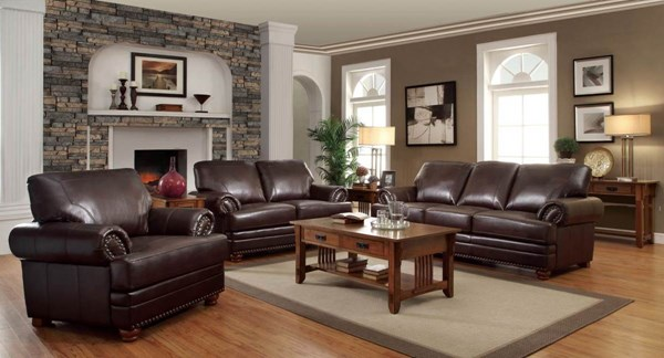 Colton Traditional Brown Bonded Leather Living Room Set CST-G504411