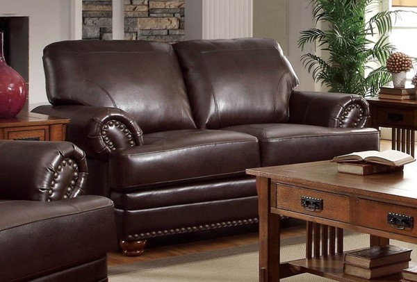 Colton Traditional Brown Bonded Leather Loveseat CST-504412