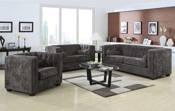 Alexis Charcoal Wood Fabric 3pc Living Room Set CST-504491-S