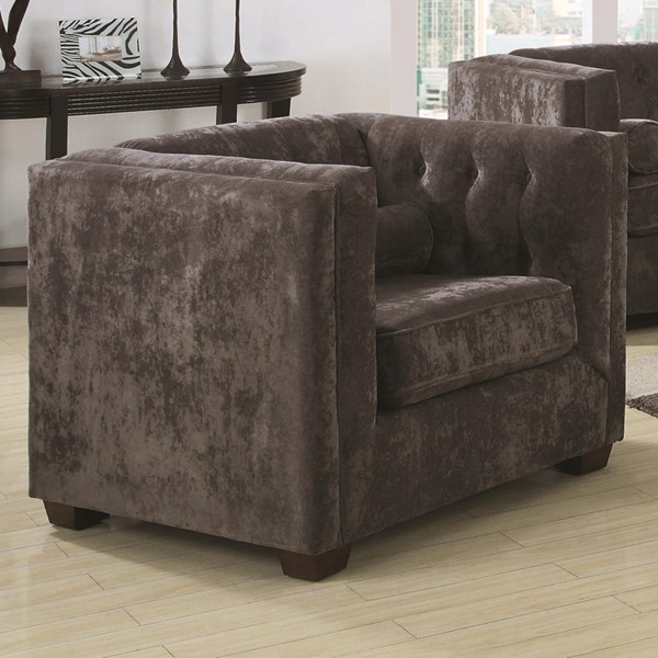 Alexis Charcoal Wood Fabric Tufted Back Chair CST-504493