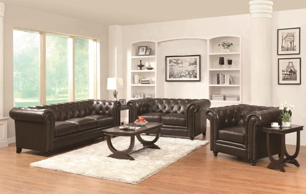 Roy Traditional Brown 3pc Living Room Set CST-504551LS3