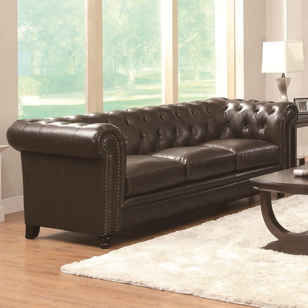 Roy Traditional Brown Leather Nailheads Sofa CST-504551
