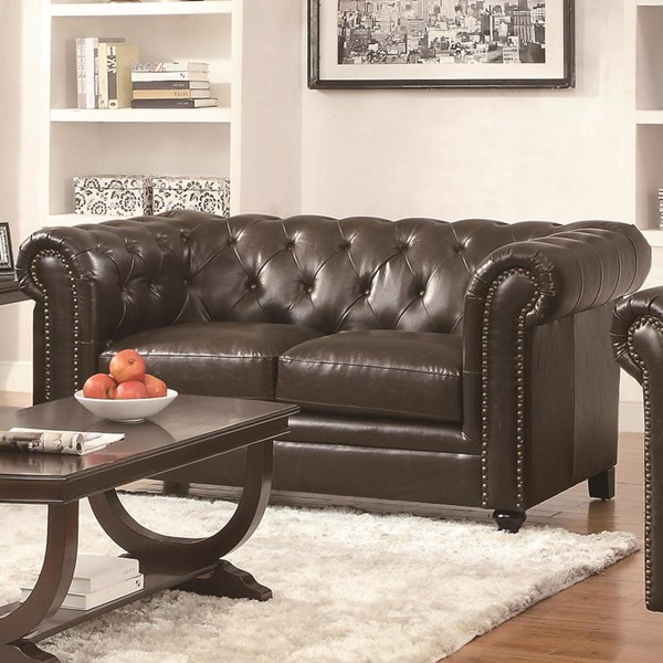 Roy Traditional Brown Leather Tufted Back Loveseat CST-504552