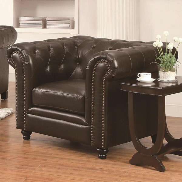 Roy Traditional Brown Leather Tufted Back Chair CST-504553