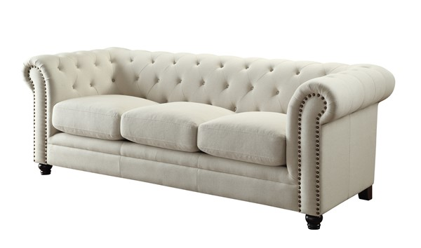 Roy Traditional Oatmeal Fabric Sofa w/Button Tufting & Rolled Arms CST-504554