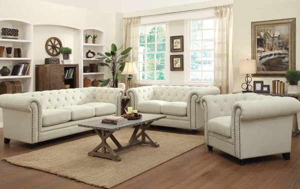 Roy Traditional Oatmeal Fabric 3pc Living Room Set CST-504554-LR-S