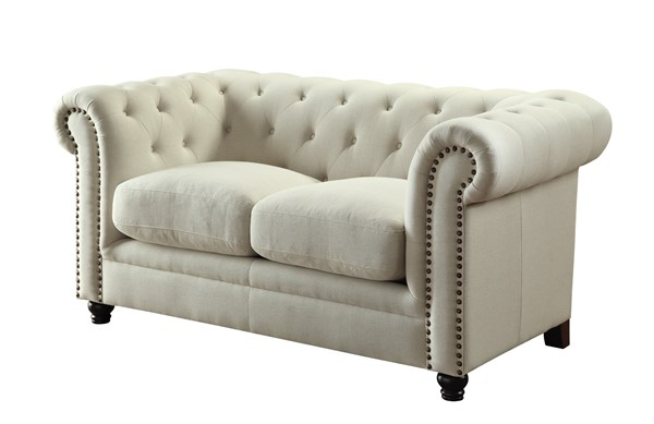 Roy Traditional Oatmeal Fabric Love Seat w/Rolled Arms CST-504555