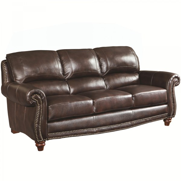 Lockhart Traditional Burgundy Brown Leather Sofa w/Rolled Arms CST-504691