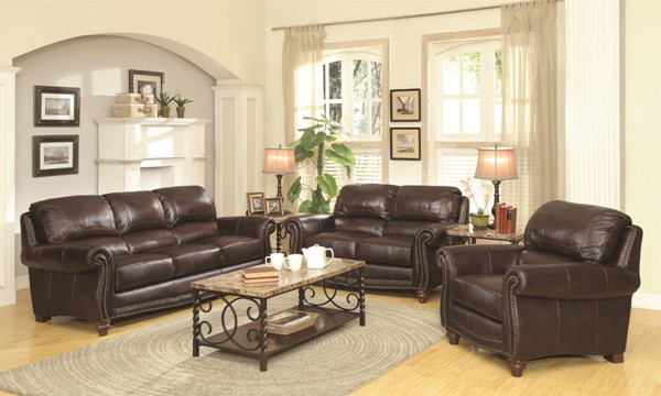 Lockhart Traditional Burgundy Brown Leather 3pc Living Room Set CST-504691-LR-S