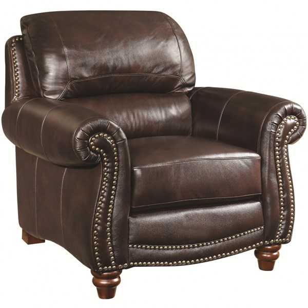 Lockhart Traditional Burgundy Brown Leather Chair w/Rolled Arms CST-504693