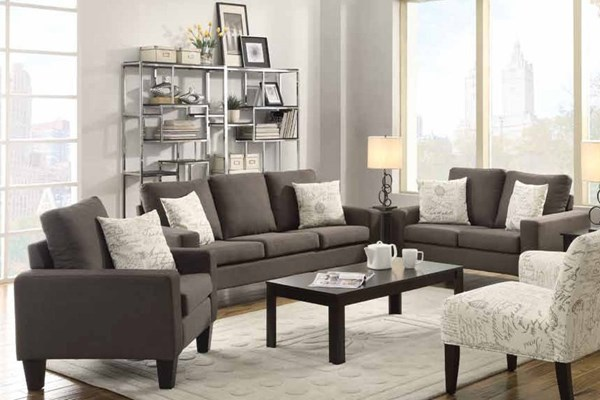 Bachman Casual Grey Fabric Wood 3pc Living Room Set CST-504764-LR-S