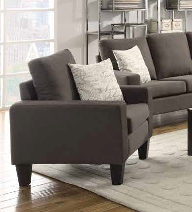 Bachman Casual Grey Fabric Wood Pillow Back Chair CST-504766